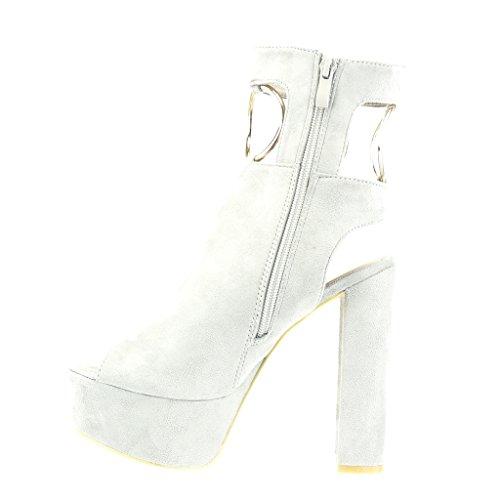 Angkorly - damen Schuhe Stiefeletten Sandalen - Plateauschuhe - Offen - Sexy - Schleife - String Tanga - golden Blockabsatz high heel 13.5 CM - Grau