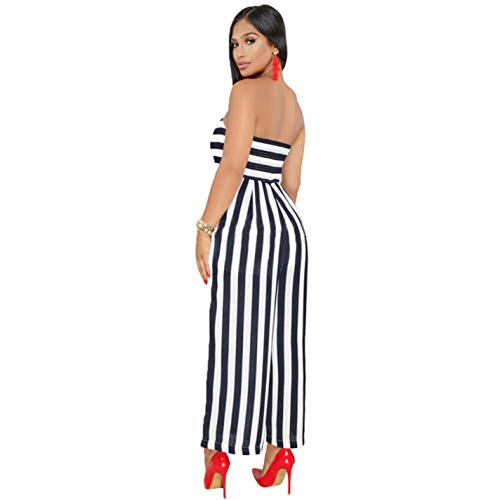 Jumpsuit Backless Striped Rompers Wide Yellow Leg Women Strapless fYq8wnRvY