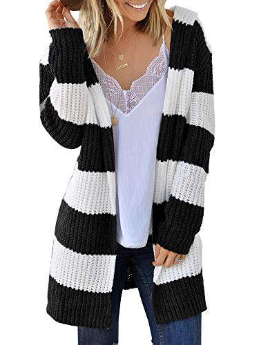 Ferbia Women Casual Long Sleeve Cardigan Striped Loose Open Front Sweater Cable Midi Knit Color Block Hood Black ()