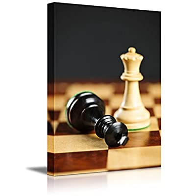 Magnificent Print, Made to Last, Closeup of Checkmate on King by Queen Winning in Chess Game Wall Decor