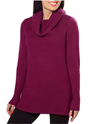(DKNY Jeans Womens Cowl Neck Sweater with Slight Hi-low Hem (Casis-Wine, Large))