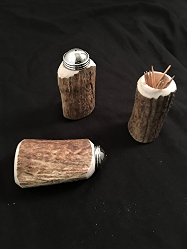 (Naturally Shed Antler Salt & Pepper Shakers and Toothpick Holder)