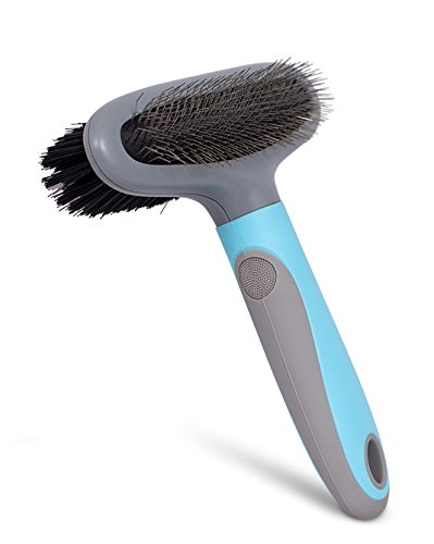 - Internet's Best 2 Sided Dog Brush | Pet Grooming Soft Bristle & Fine Flexible Bent Wire Brush | Double Slicker & Bristle Brush for Cat or Dog | Long or Short Hair | Blue and Grey