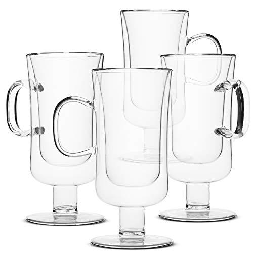BTäT- Irish Coffee Mug, Coffee Glass, Set of 4 (10oz, 300ml), Double Wall Glass Irish Coffee Cup, Tea Cups, Latte Cups, Glass Coffee Mug, Beer Glasses, Latte Mug, Clear Mugs, Glass Cups, Glass Tea Mug (Glass Coffee Mugs 10 Oz)