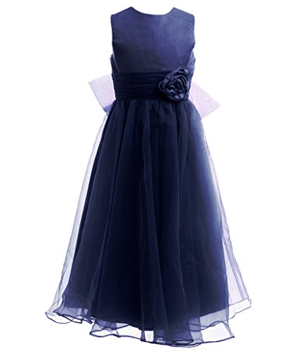 Fairy Couple Girl's A-line Sleeveless Ankle Length Junior Bridesmaid Flower Girl Dress K0125 14 Navy Blue