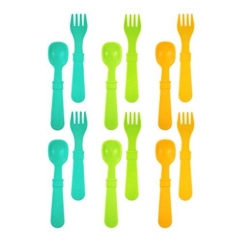 Re-Play Made in USA 12pk Toddler Feeding Utensils Spoon and Fork Set for Easy Baby, Toddler, Child Feeding - Aqua, Lime, Sunny Yellow (Aqua Asst.) 6 Spoons/6 Forks