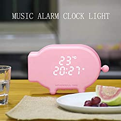 wuliLINL2019 Non Ticking Digital Music Alarm Clock with Snooze, Sound Thermometer and Nightlight, Cartoon Pig Desk Clocks USB Charging for Kids