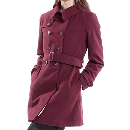 omen's Burgundy Wool Double Breasted Belted Trench Coat Small (Fitted Wool Blend Coat)