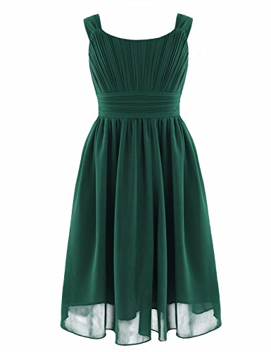 YiZYiF Kids Big Girl Sleeveless Pleated Chiffon Flower Wedding Bridesmaid Formal Party Dress Green 10