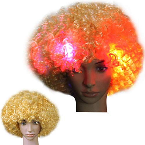JPJ(TM)1pcs Fashion Party Disco Led Flash Clown Hair Football Fan-Adult Afro Masquerade Hair Wig 54cm  (K) ()