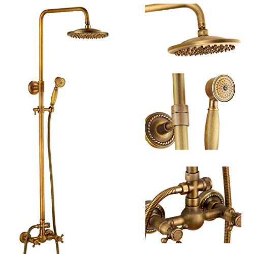 Antique Brass Bathroom Shower Faucet Set Brushed Gold Shower Fixture 8 Inch Rainfall Shower Head Handheld Shower Cross Handle