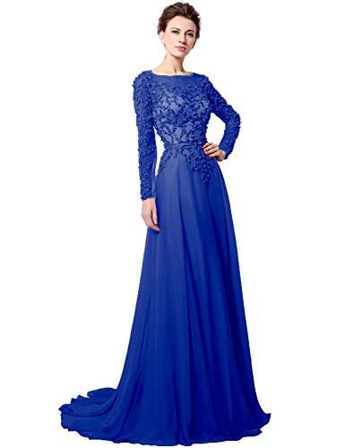 Belle House Royal Blue Red Carpet Gown Illusion Sleeve Long Beaded Celebrity -