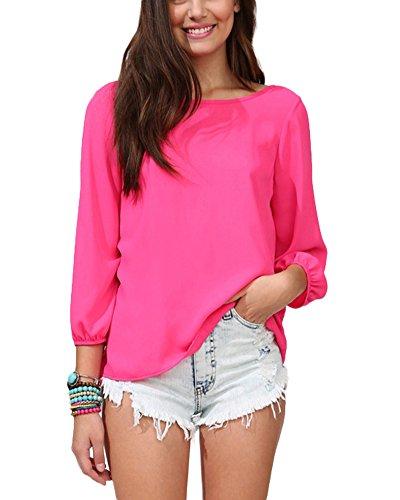 Tops Cravate Longue Slim Tops Rose Bowknot Manche Haut Taille Femme Chemise Qitun Shirt Causal Grande Fluide Mousseline Derrire Blouse T tqwvX6