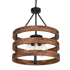 Interior Lighting DERALAN Modern Rustic Chandelier Circular Wood Chandeliers Round Wooden Five Lights Farmhouse Chandeliers Island Pendant… modern ceiling light fixtures