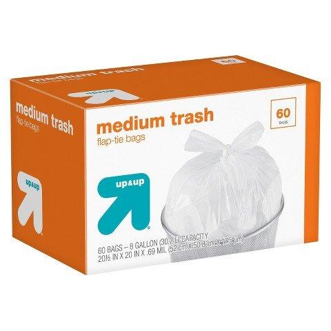 up & up Medium Flap-Tie Closure Trash Bags 8 gal 60 ct (Medium Flap)