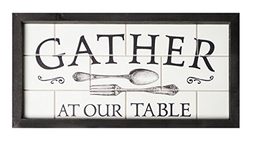 P. Graham Dunn Gather at Our Table Subway Tile Look 19 x 10 Wood Framed Wall Sign ()