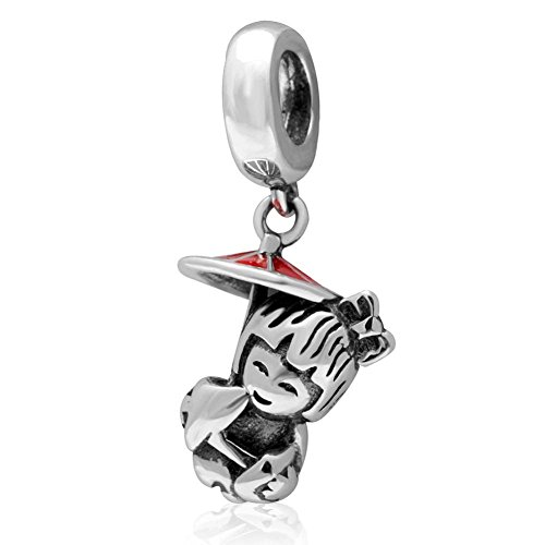 Japanese Girl Charm 925 Sterling Silver Child Charm Dangle Charm Birthday Charm for Bracelet