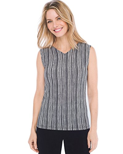 Chicos Womens Travelers Classic Convertible Wrinkle Resistant Striped Sleeveless Tank Black/White