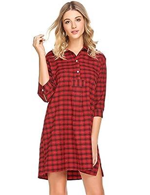 Acecor Women Casual Stand Collar 3/4 Sleeve Plaid Button Split Hem Sleepwear Shirt Dress