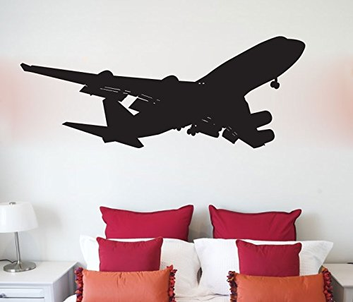 Airplane Silhouette - Boeing 747 Airplane Jumbo Jet Silhouette Vinyl Wall Decal Sticker