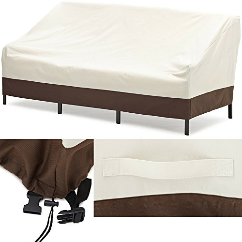 EFD Heavy Duty Sofa Cover 3-Seater Sized White Brown Waterproof All Weather Resistant Outdoor Patio Fabric Modern Deep Lounge Sofa Cover eBook by Easy&FunDeals by EFD