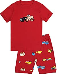 BOOPH Boys Pajamas 2 Picese Bulldozer Short Pajama Set 100% Cotton Sleepwear 2-7T