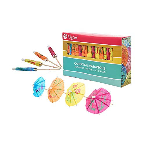 KingSeal 4 Inch Umbrella Parasol Cocktail Picks, Cupcake Toppers - 1 pack of 144 each, Assorted Colors and Designs