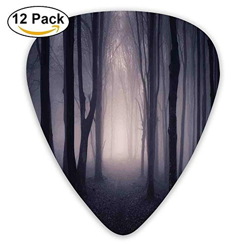 Path Through Dark Deep In Forest With Fog Halloween Creepy Twisted Branches Guitar Picks 12/Pack Set -