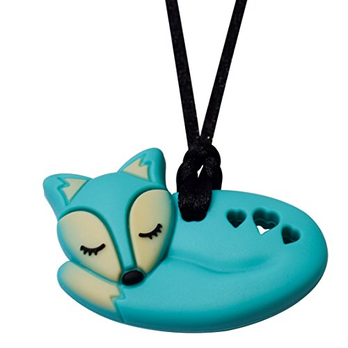 Aqua Fox - Sensory Oral Motor Aide Chewelry Necklace - Chewy Jewelry for Sensory-Focused Kids with Autism or Special Needs - Calms Kids and Reduces - Bear Descending