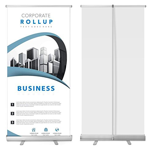 33'' x 79'' Retractable Banner Stand Roll Up Portable for Trade Show Sign Signage Store Display Wall Exhibition Aluminum Structure with Carrying Bag by Flexzion