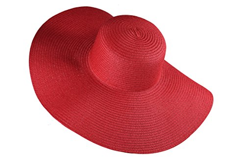 Red Floppy Sun Hats with Foldable Wide Brim Stylish Summer Hats for Women