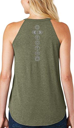Ladies 7 Chakras Rocker Yoga Tank, Large Military Green Frost (Neck Print)