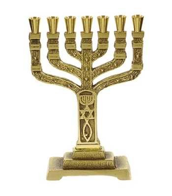 Holy Land Gifts Menorah-12 Tribes-Roots-Brass (7 Branched)-6-1/2