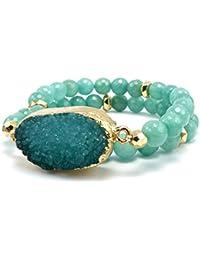 Druzy Accented Natural Stone Gemstone Bead Strand Wrap Stretch Bracelet
