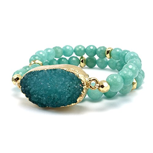 Druzy Accented Natural Stone Gemstone Bead Strand Wrap Stretch Bracelet (Turquoise) -