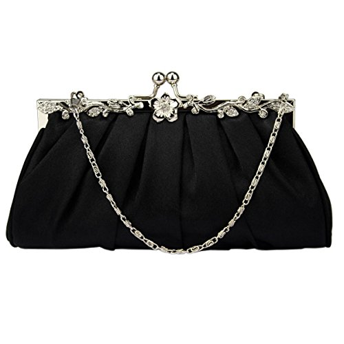 Handbag Evening Clutch Bridal Bag Prom Pleated Black Satin Party Bags Wedding Aw0xnq
