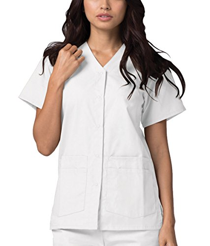 Adar Universal Double Pocket Snap Front Top (Available in 39 Colors) - 604 - White - 4X ()