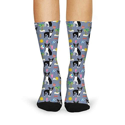 (Floowyerion Women's Boston Terrier Beach Summer Dog Pattern Novelty High Sports Socks Crazy Funny Crew Tube Socks )