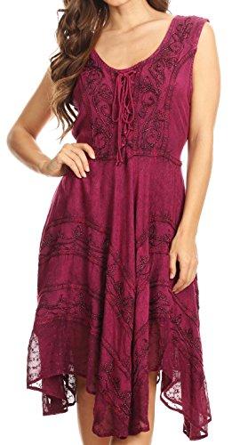 (Sakkas 123 Sundara Stonewashed Rayon Mid Length Dress - Orchid -)