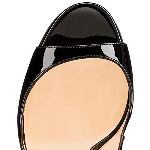 Stilettos High Peep 12cm Women's Black Heels Soireelady Heel Wedding Toe Slingback Sandals Dress Party n85B1xFwqT