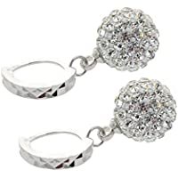 Korean Women Crystal Rhinestone 18k White Gold Filled Hoop Earring Party Jewelry ERAWAN