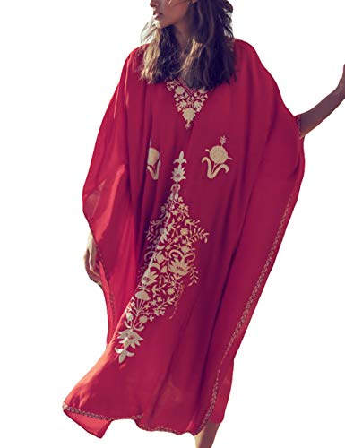 (Bsubseach Women Embroidery Loose V Neck Batwing Sleeve Beach Kaftan Dress Swimsuit Cover Up Swimwear Red)