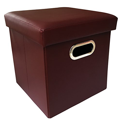 ZHICHEN Ottoman with Storage, Cube Basket Bins, Foot Rest Seat, Folding Leather Organizer or Coffee Table, Clutter Toys Collection, with Hand Buckle Quick Assembly Easy Carry (Claret) (Burgundy Ottoman)