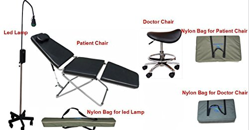 Dental Power Portable Foldable Dental Chair &Operating LED Lamp & Nylon Bags& Doctor's Chairs(Saddle Horse Chair+Square Chair)