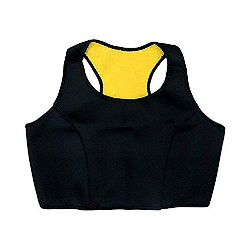 Wishesport Neoprene Crop Tank Top Racerback Sports Bra Workout Gym Activewear Bra,Seamless Yoga Top for Running Gym Fitness(Black (L)