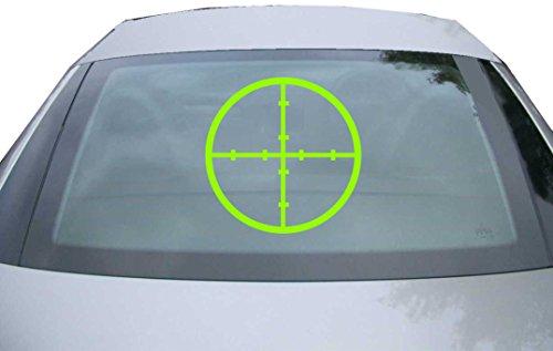 INDIGOS UG Sticker for rear window & engine flap - DE6996 - neon green - 600x600 mm - Crosshair riflescope - for car, windows, tailgate, tuning, racing, JDM/Die cut (Riflescope Mens)