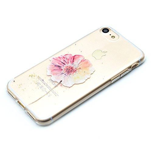 iPhone 6 6S Hülle , Leiai Modisch Blume TPU Transparent Clear Weich Tasche Schutzhülle Silikon Handyhülle Stoßdämpfende Schale Fall Case Shell für Apple iPhone 6 6S
