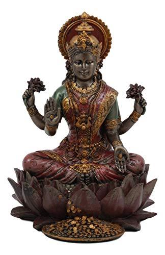 Ebros Beautiful Hindu Goddess Lakshmi Seated On Lotus Flower Statue 6.25