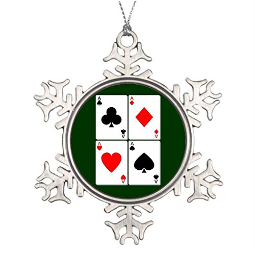 Tree Branch Decoration Playing Card Pewter Christmas Snowflake Ornaments