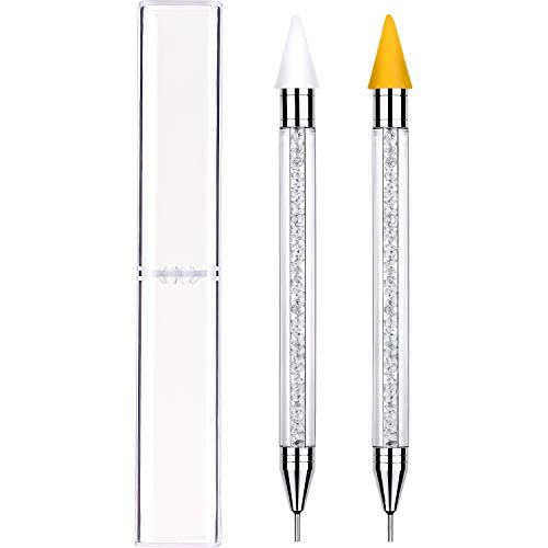 Nail Pencil Use White - Tatuo 2 Pieces Rhinestone Picker Dotting Pen, Dual-ended Rhinestone Gems Crystals Studs Picker Wax Pencil Pen Crystal Beads Handle Manicure l Beads Handle Manicure Nail Art DIY Decoration Tool (White)